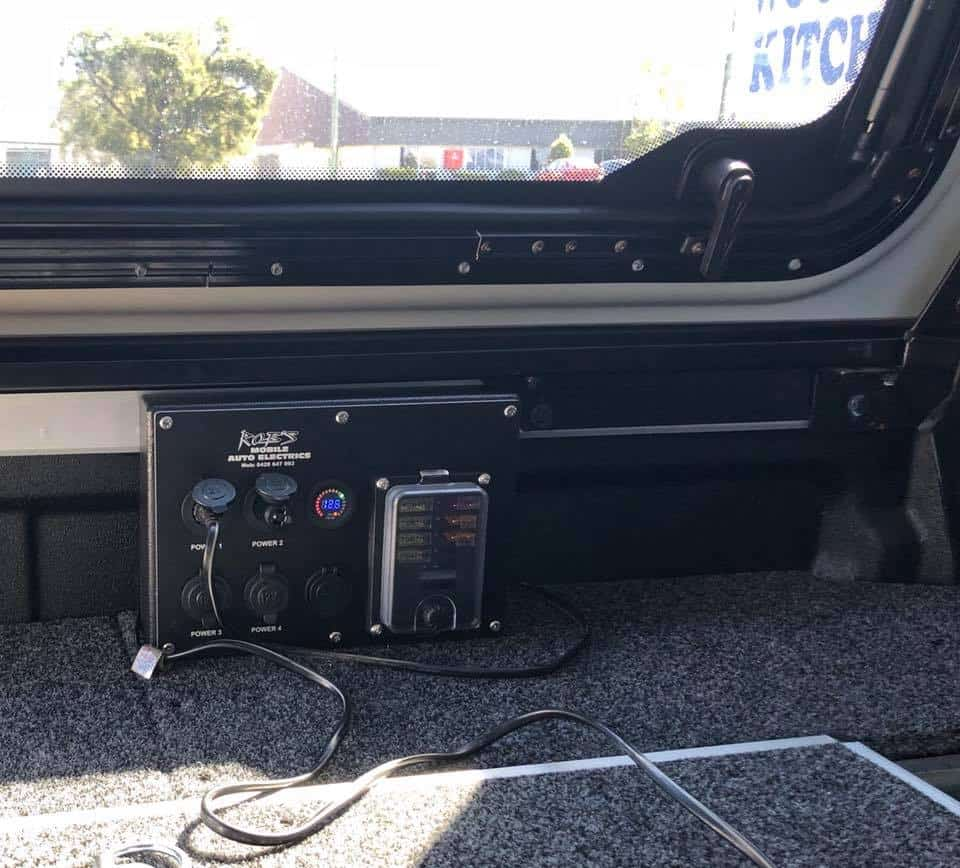 Getaway Dual Battery with custom made power panel for Ford Ranger style side tub.