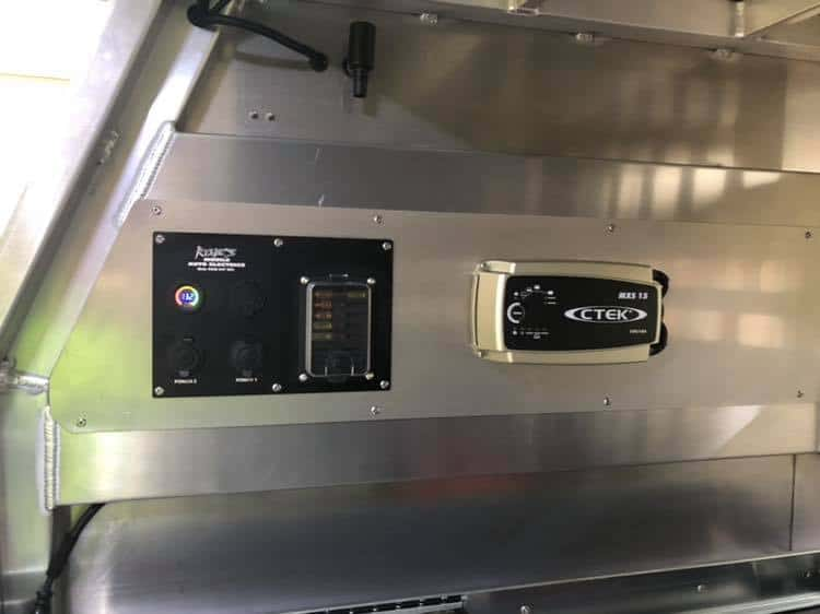 Custom made 12 volt Canopy Wiring Panels with second battery connected to existing dual battery system and more